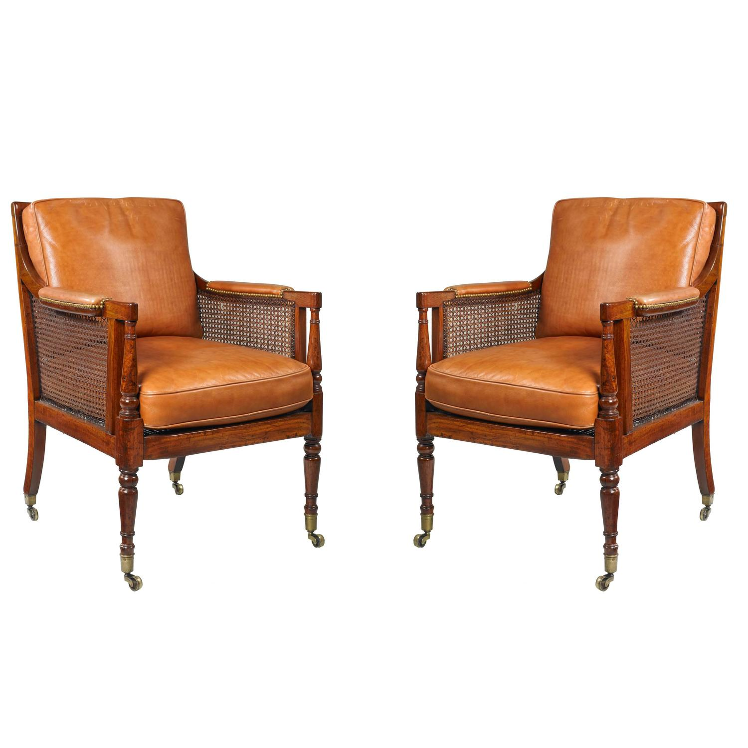 leather bergere chair and ottoman alera office chairs pair of regency caned library bergères for sale at 1stdibs