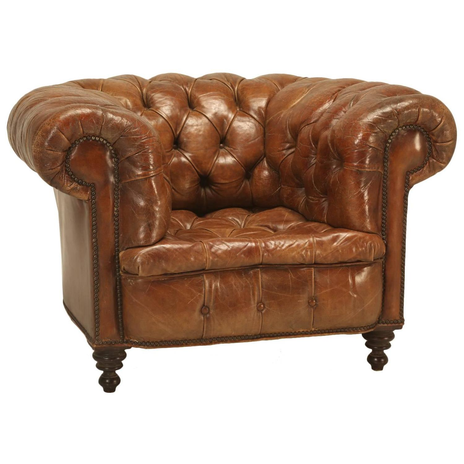 Leather Chesterfield Chair Antique Chesterfield Chair In Original Leather For Sale At