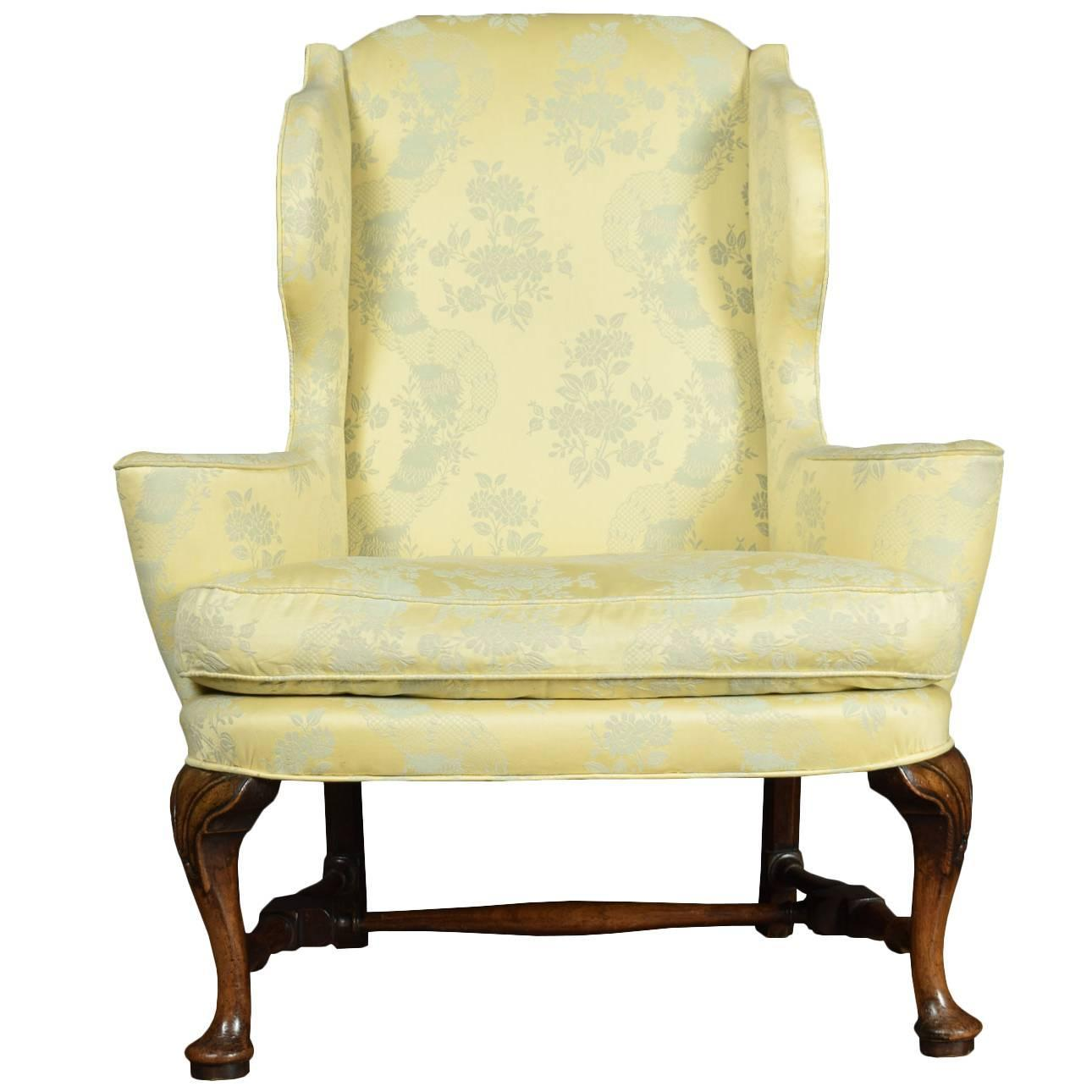 queen anne wing chair recliner long dining covers australia style armchair for sale at 1stdibs