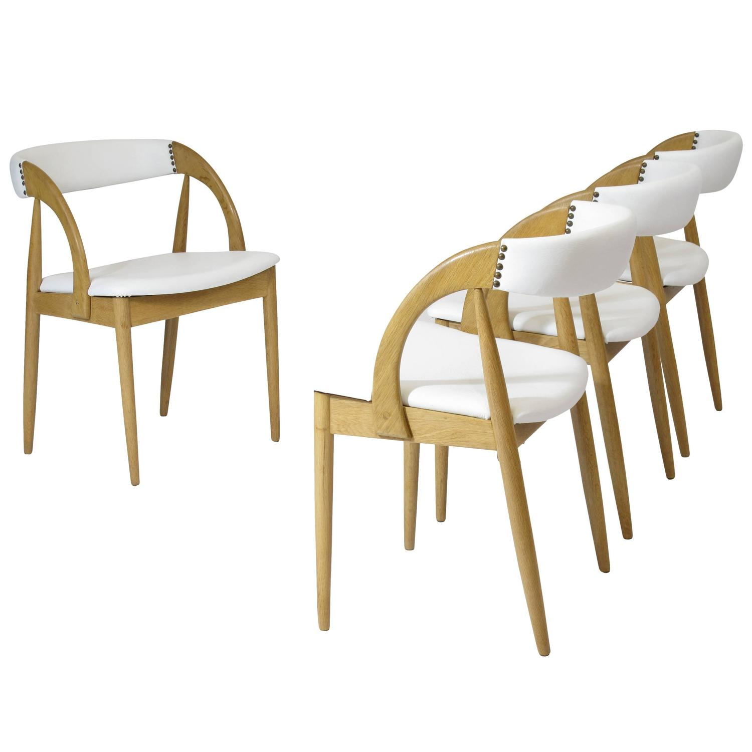 white leather chairs dining comfortable living room chair four oak in for sale at