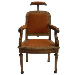 Throne Office Chair Rohe Barcelona 19th Century French Barbers Leather Desk Reclining Armchair At 1stdibs