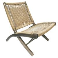 Mid-Century Folding Rope Chair in the Style of Hans Wegner ...