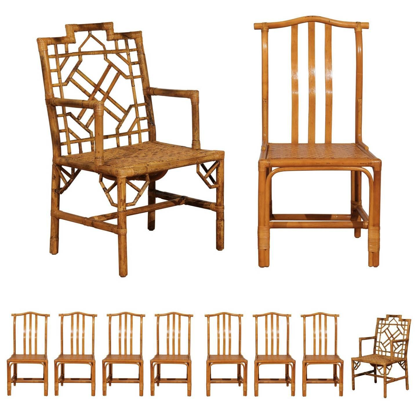 cane dining chairs for sale low camping chair elegant set of ten restored vintage rattan