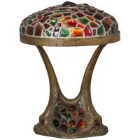 Art Nouveau Austrian Jeweled Chunk Glass Table Lamp with ...
