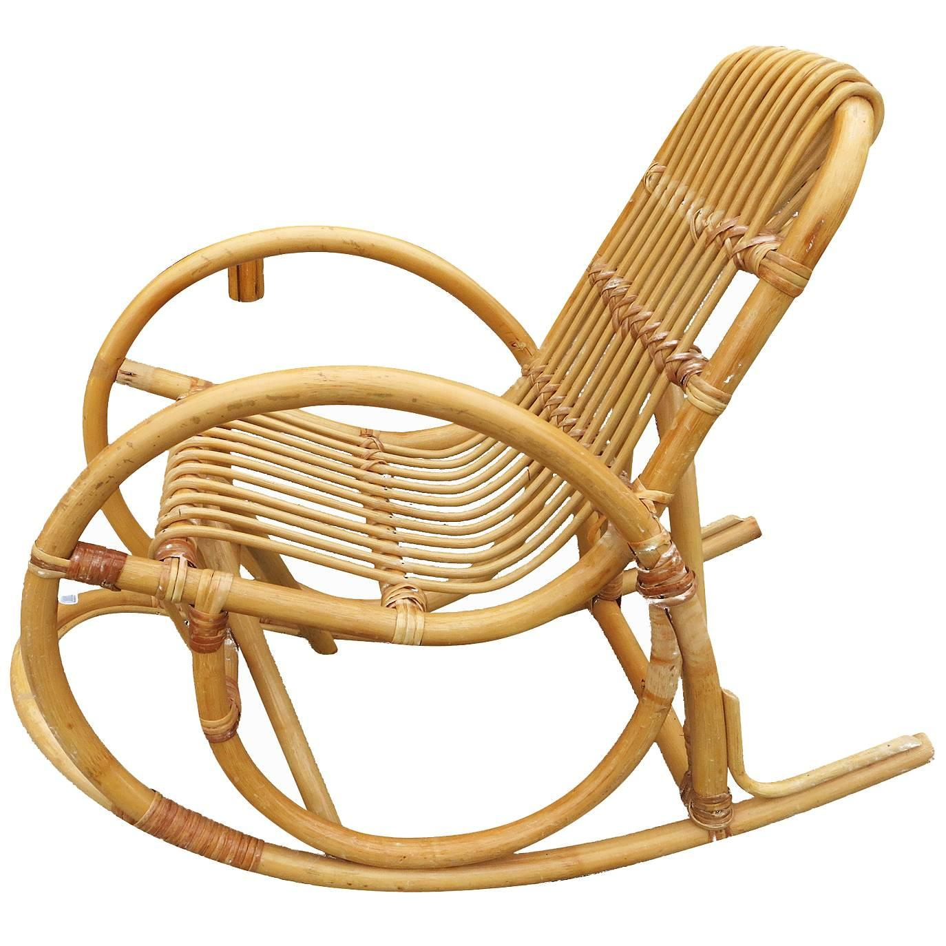 Child Wooden Rocking Chair Restored Rare Child S Snake Arm Rattan Rocking Chair