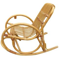 Childs Rattan Chair Recovering Cushions Vinyl Restored Rare Child S Snake Arm Rocking For Sale At 1stdibs