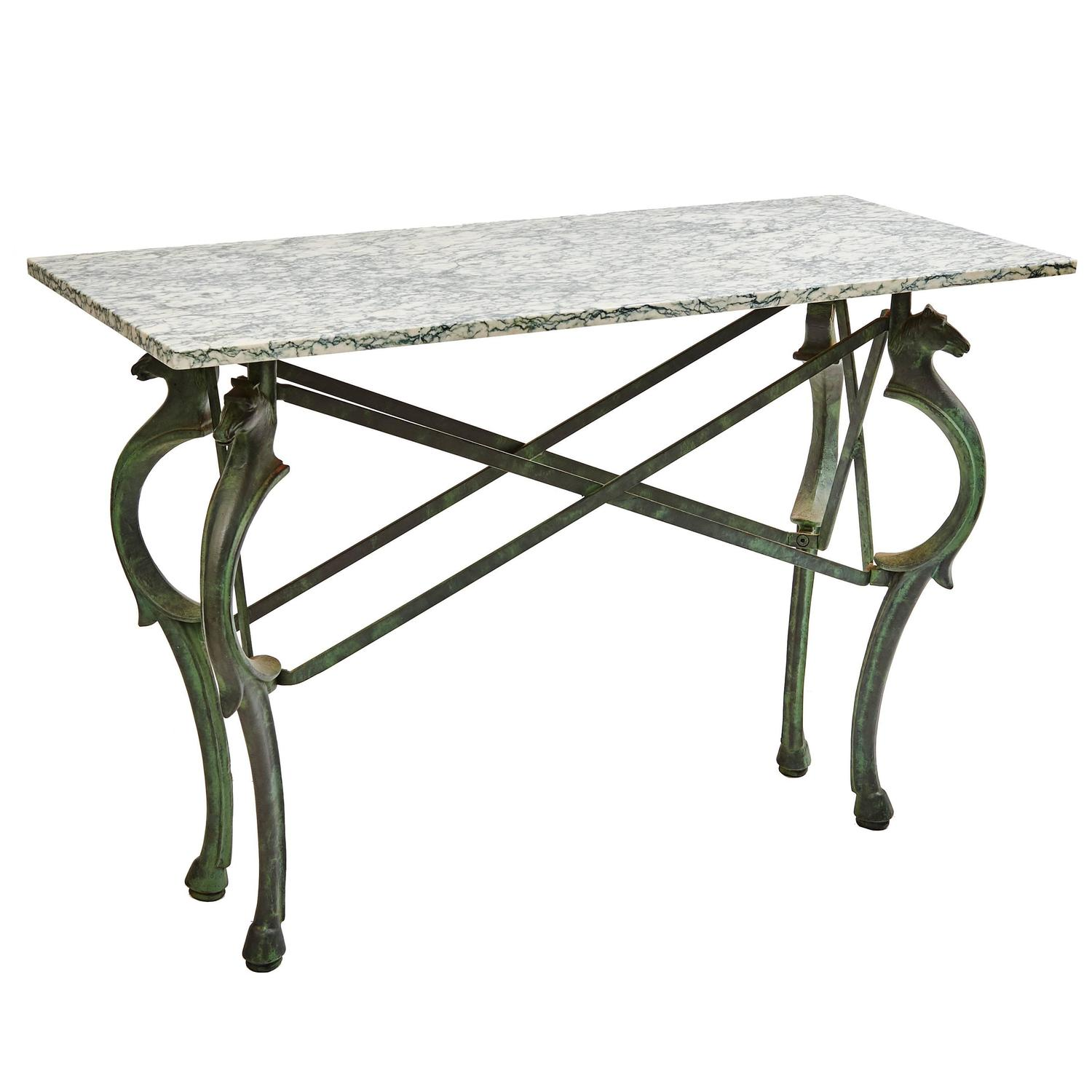 horse sofa table rent italian grand tour style head iron console