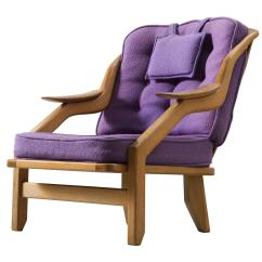 Purple Upholstered Dining Chairs Toddler Desk Chair Guillerme And Chambron Lounge In Solid Oak
