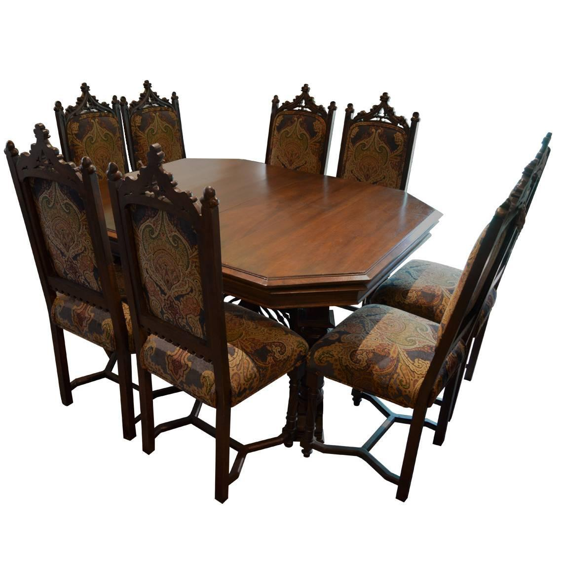 medieval dining chairs dxr racing chair uk antique gothic style table with eight