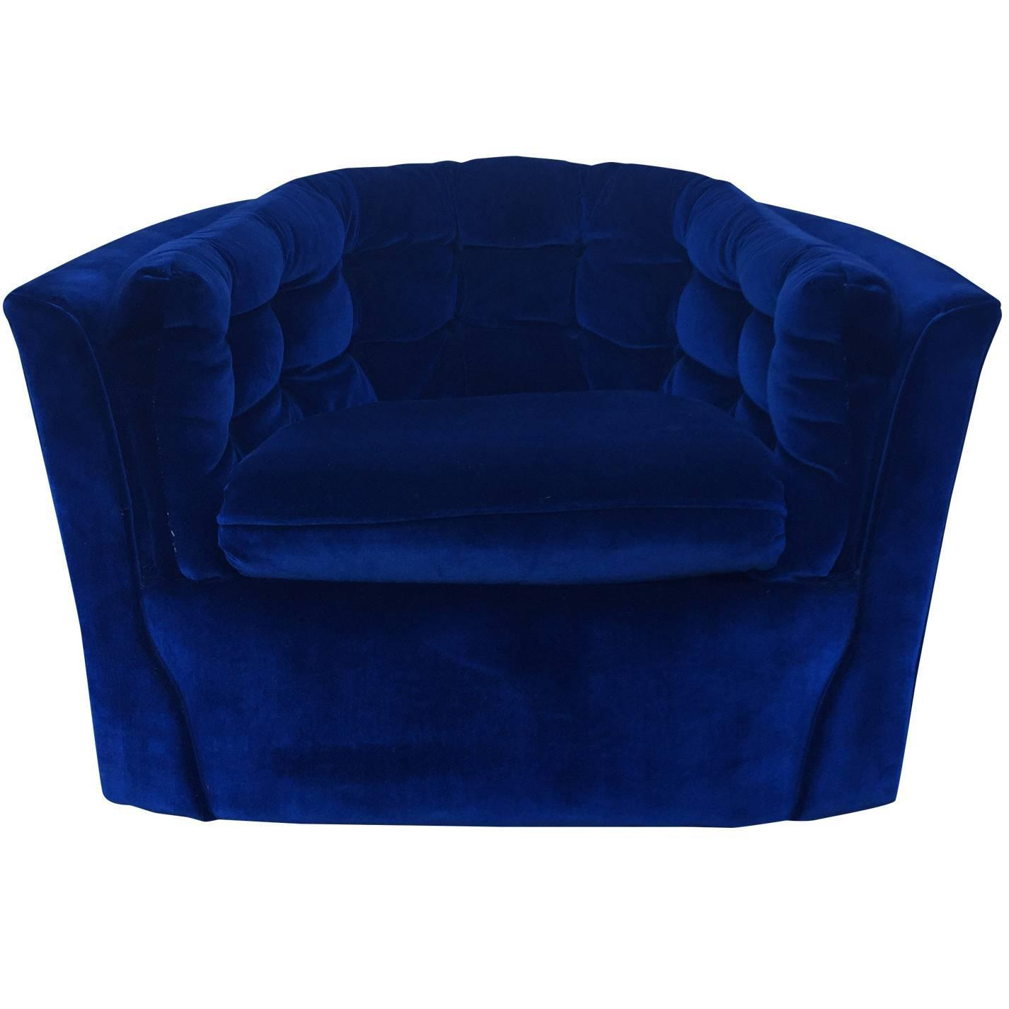 Blue Swivel Chair Royal Blue Velvet Mid Century Modern Swivel Chair For Sale