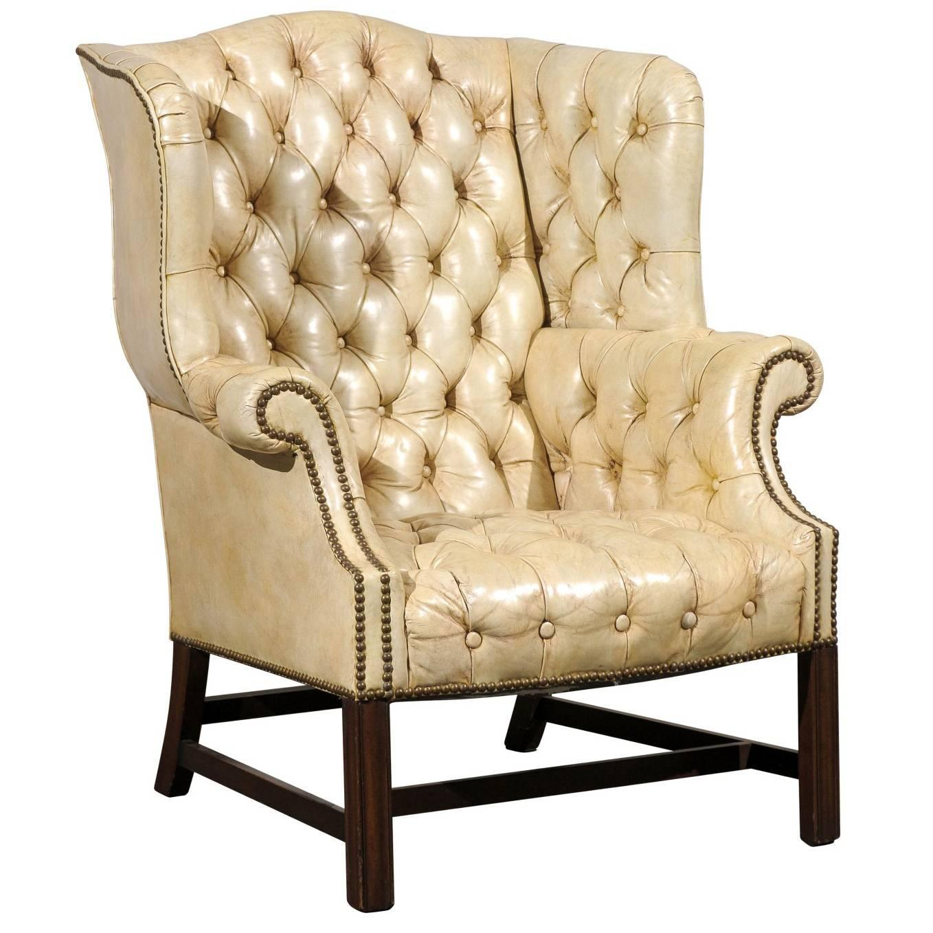 white leather chairs for sale portable baby high 20th century tufted georgian style wing chair