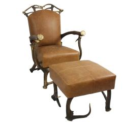 Chair And Matching Stool Child Rocking Plans Brown Leather Red Stag Antler With