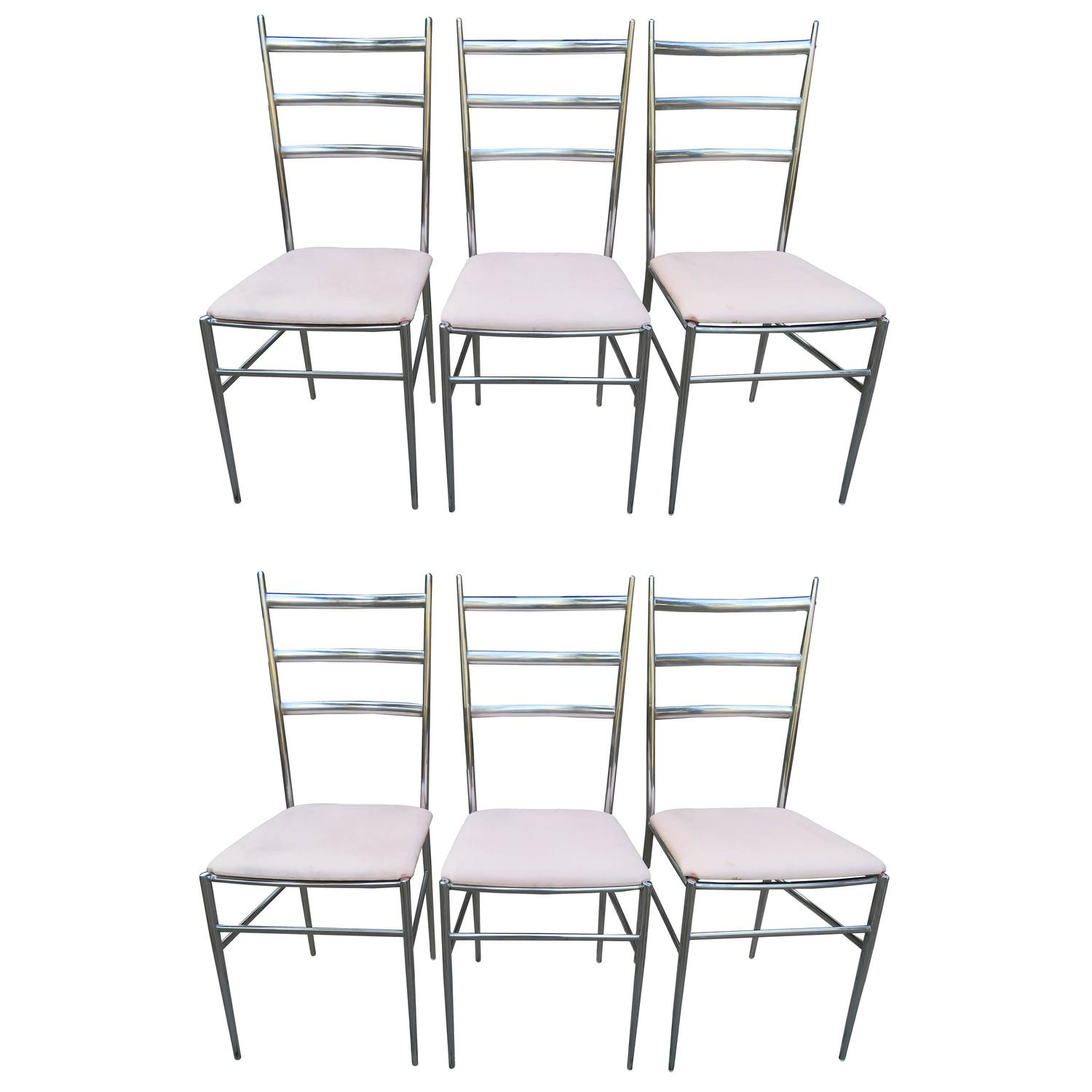 ladder back cane seat dining chairs kidkraft lounge chair cushion six chrome in the style of gio