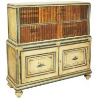 French Chinoiserie Painted Bar Cabinet, with Faux Books ...