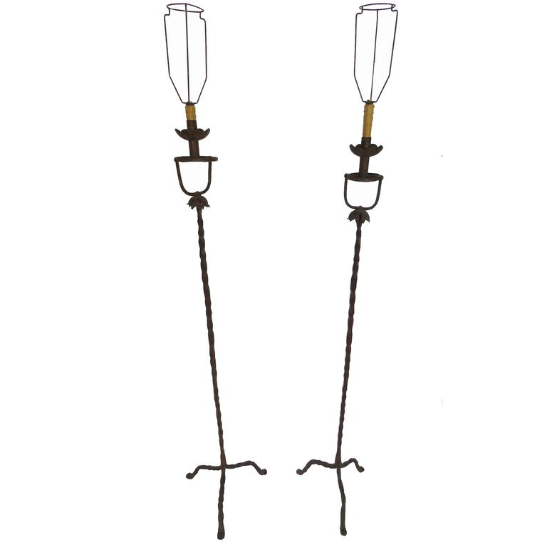 18th Century Pair of Period Hand-Wrought Iron Floor Lamps