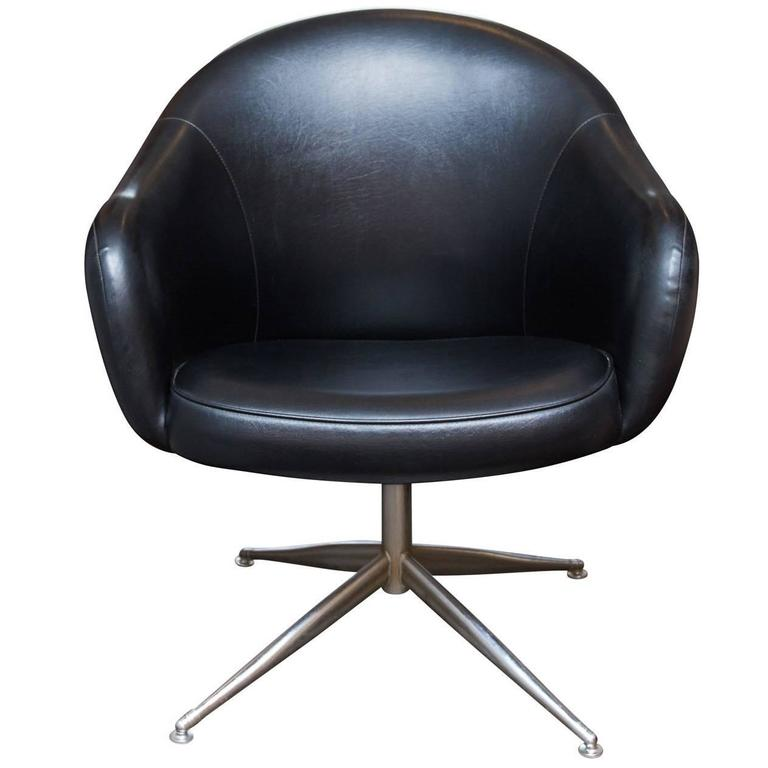 Vintage Baumritter Swivel Chair in Black Naugahyde at 1stdibs
