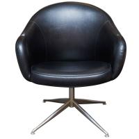 Vintage Baumritter Swivel Chair in Black Naugahyde For ...