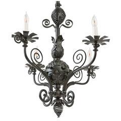 American Victorian Cut Glass and Gilt Bronze Chandelier