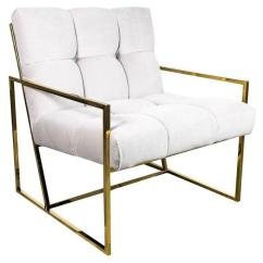 Tufted Accent Chairs Revolving Chair Walmart Mid Century Modern Style In Cream Velvet With Brass Frame For Sale