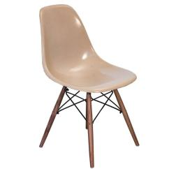 Fiberglass Shell Chair Posture Seat For Babies Eames Greige Chairs On Walnut Dowel Base Sale