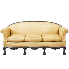 Century Furniture Sofa Quality Covering Fireplace Early 20th Chippendale Revival Carved Mahogany For Sale
