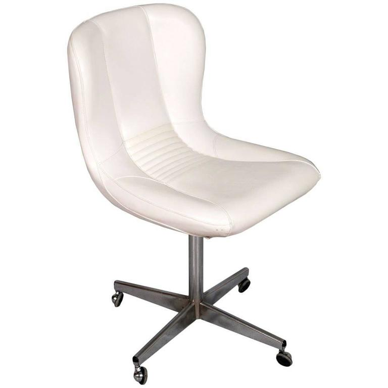 revolving easy chair wood kitchen chairs chromed steel white leather charles e ray eames manner for