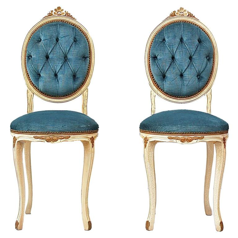 Louis XVI Style Pair of Boudoir Side Chairs at 1stdibs