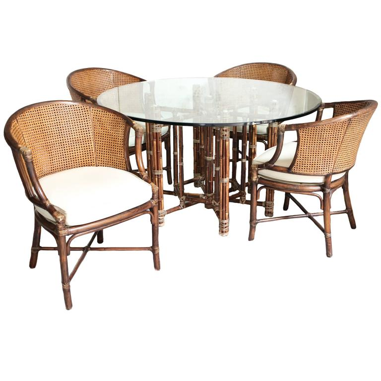 rattan table and chairs kubu chair world market vintage bamboo by mcguire at 1stdibs for sale