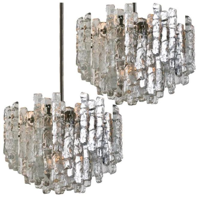 Pair Of Large Modern Ice Glass Chandeliers By J T Kalmar For