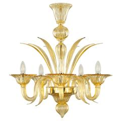 Genuine Italian Deco Style Murano N Glass Chandelier Honey Color