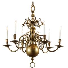 Small Dutch Brass Chandelier With Six Lights Early 19th Century