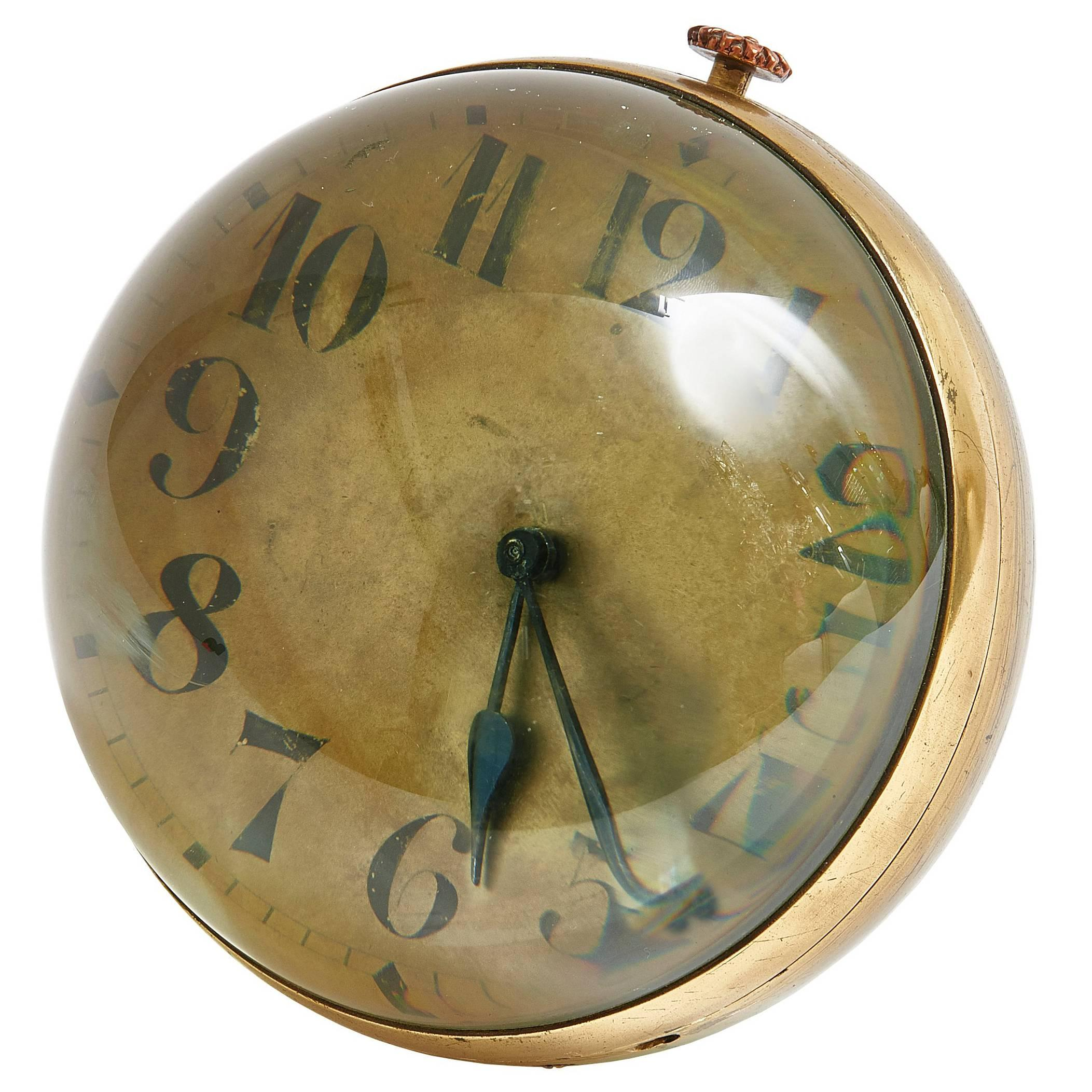 Very Large Continental Glass Ball Clock with Gilt Dial
