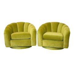 Green Velvet Swivel Chair Sure Fit Slipcovers For Chairs Scalloped Channel In The Style Of Milo Baughman Sale