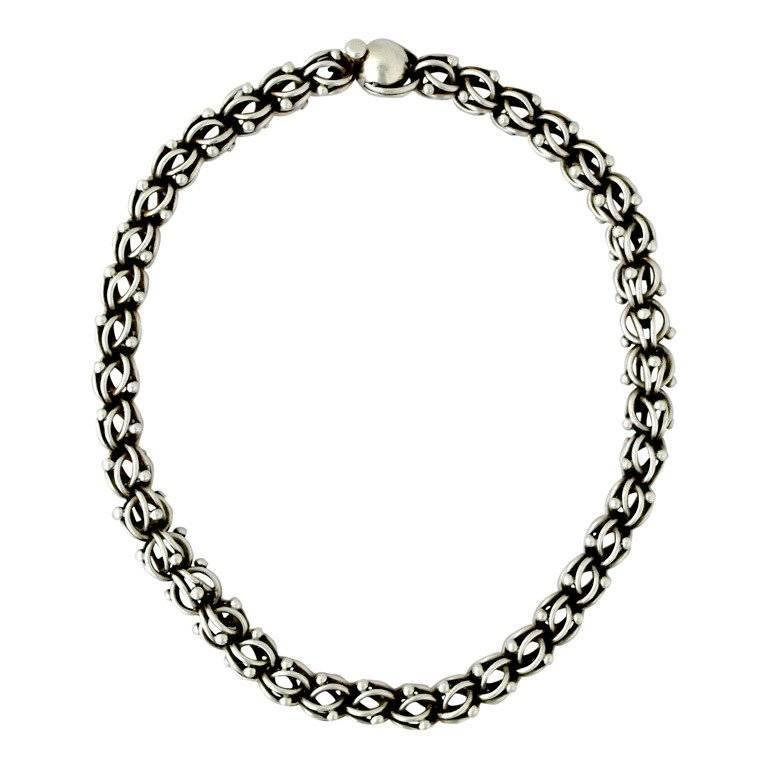 Antonio Pineda .970 Silver Modernist Necklace For Sale at
