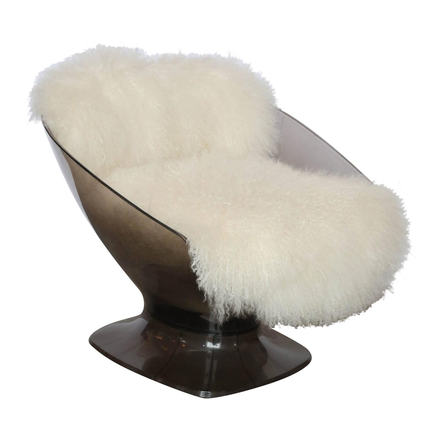 mongolian fur chair cover herman miller shell raphael lucite and sheepskin lounge at 1stdibs