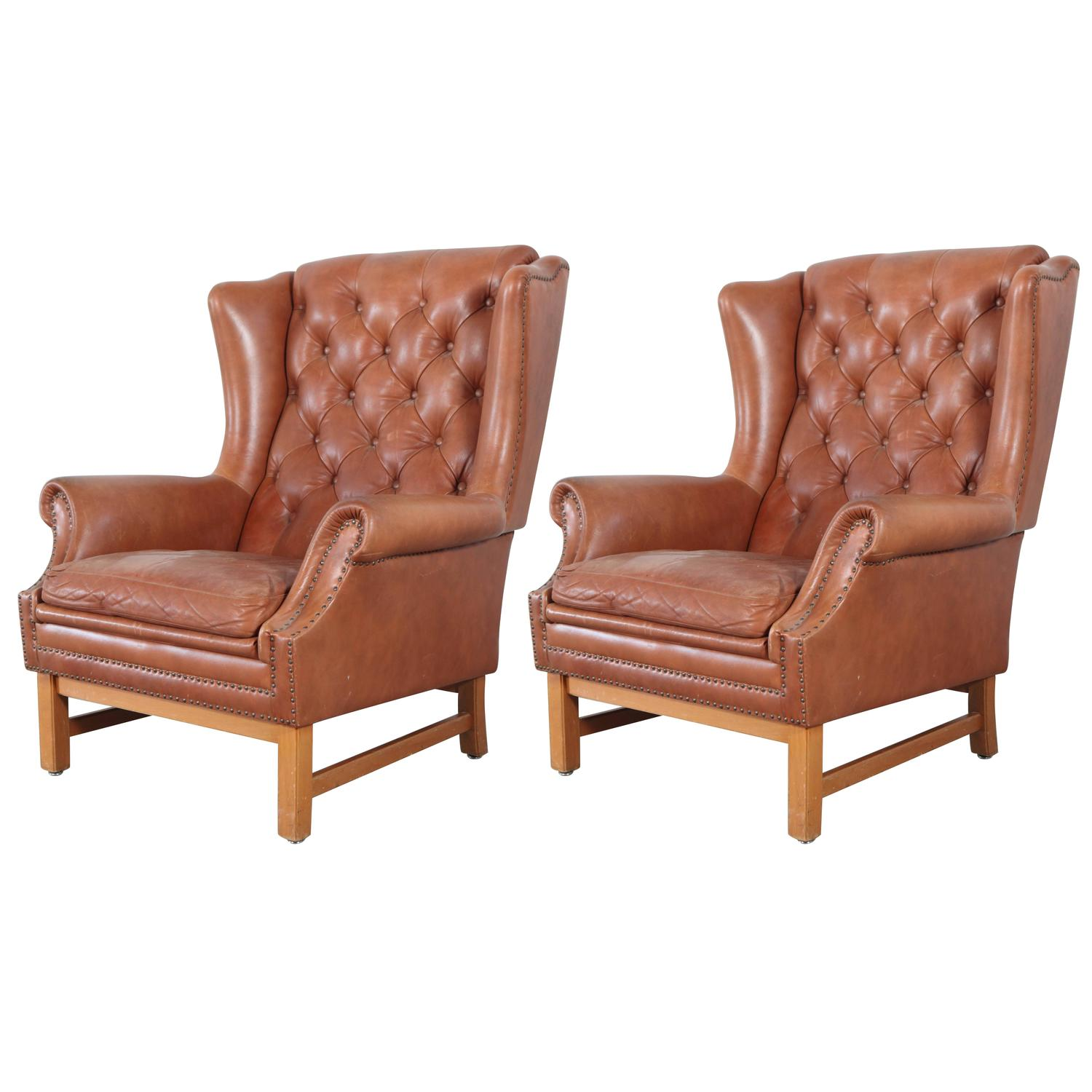 nailhead wingback chair small lift chairs chippendale style leather tufted wing back with
