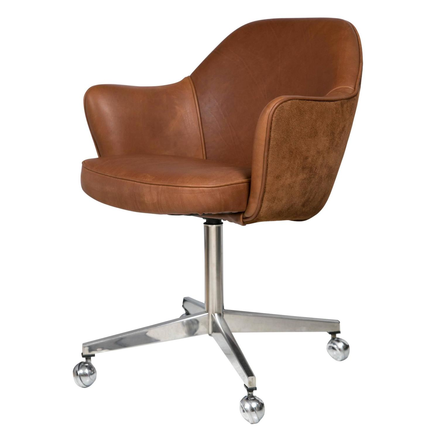 desk chair leather chairman mao knoll in saddle and suede for sale at
