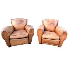 Art Deco Club Chairs Leather Wheelchair Man 1930s French Moustache Lounge Or
