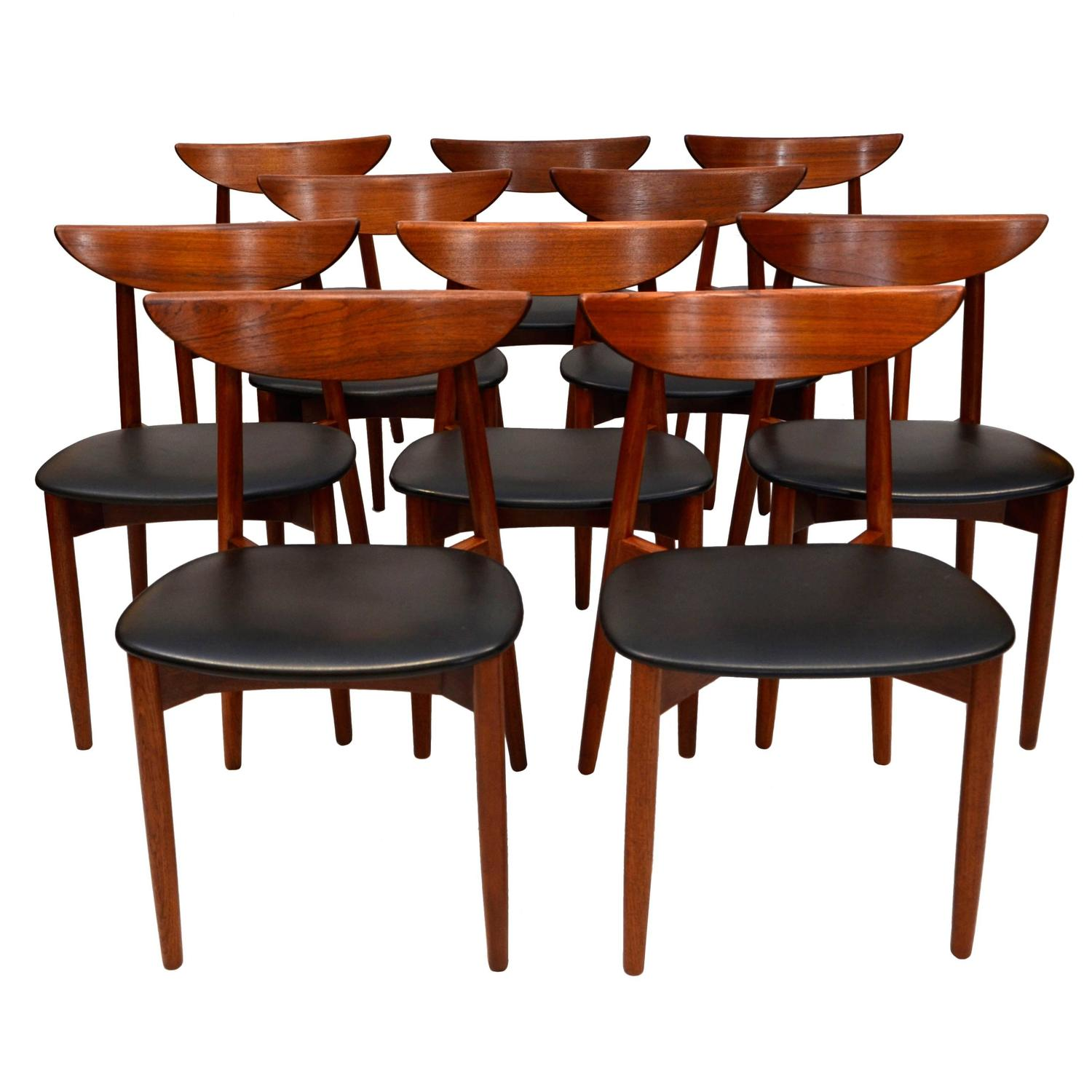 Set Of Ten Teak Dining Chairs Harry Ostergaard For Moreddi For Sale At 1stdibs