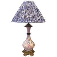 19th Century French Porcelain Lamp with Indian Silk Sari ...
