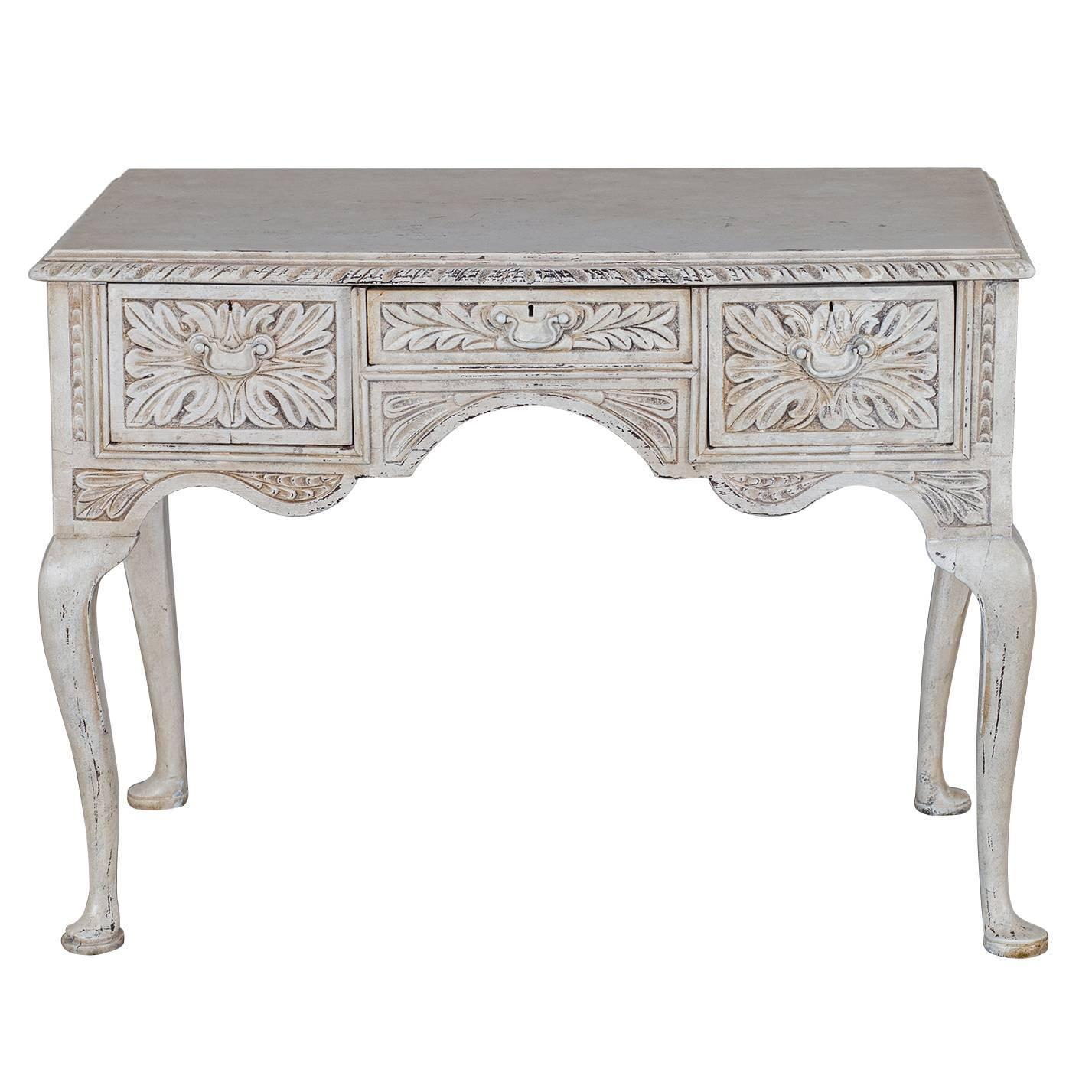 painted queen anne sofa table small bench antique english style carved and oak