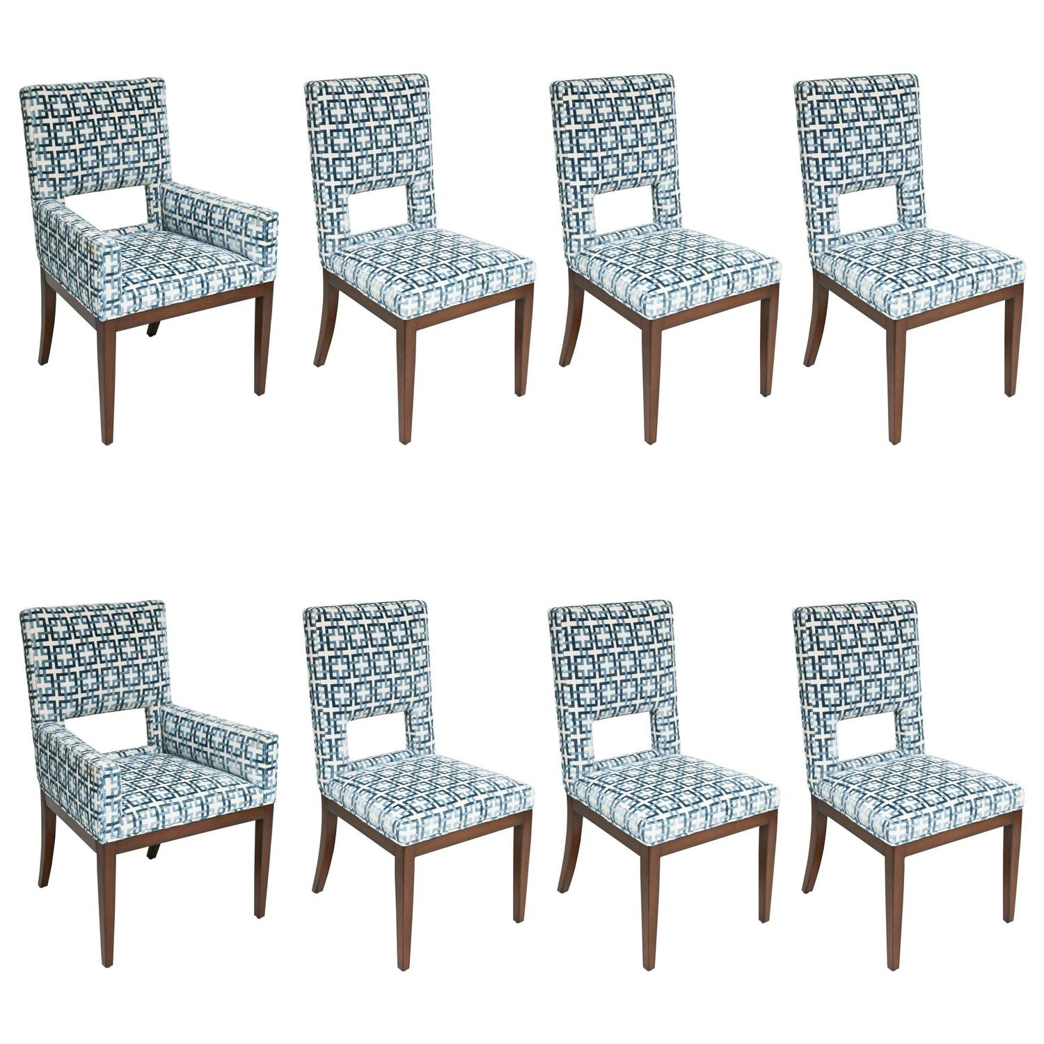 blue and white dining chairs feet for set of eight upholstered in