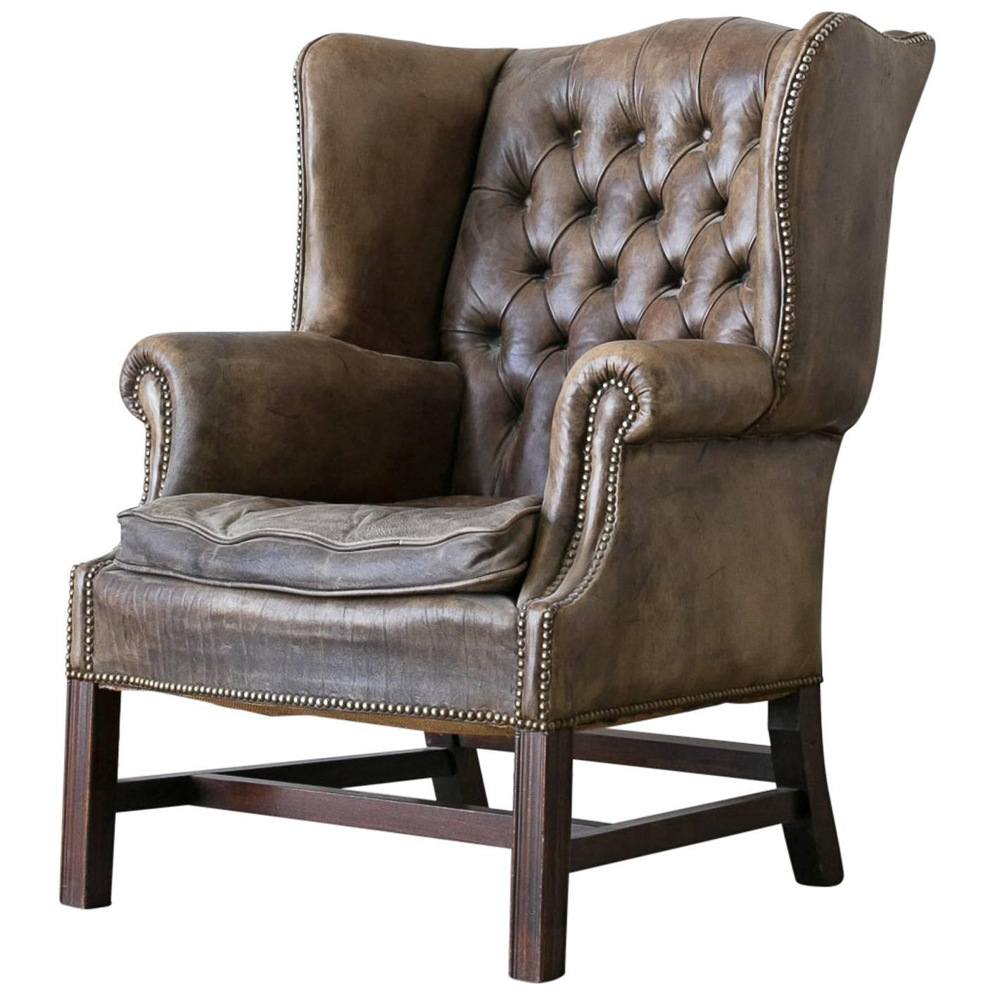 leather wingback chairs wedding chair covers sydney vintage chesterfield style at 1stdibs