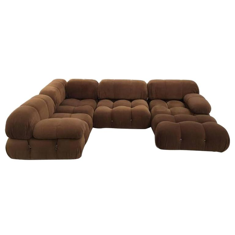 large sectional sofa with ottoman leather throw pillows chocolate brown mario bellini