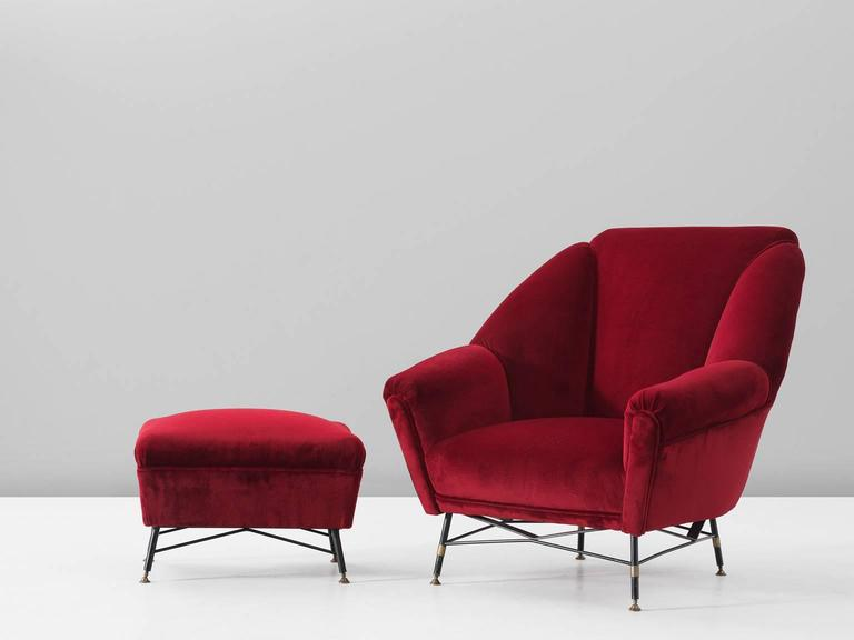 Italian Red Velvet Lounge Chair with Accompanying Ottoman