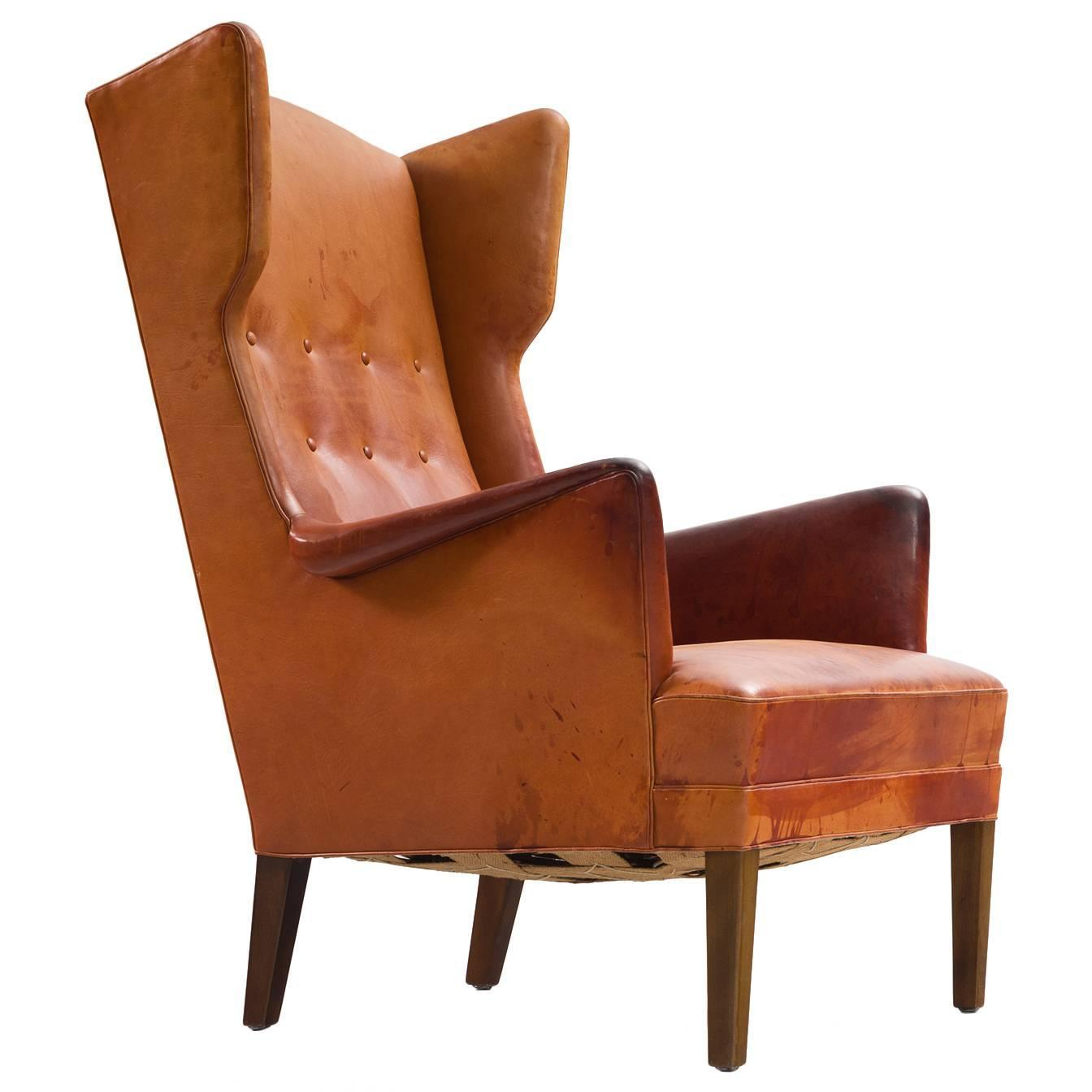 white leather wingback chair factory direct covers frits henningsen lounge in original cognac