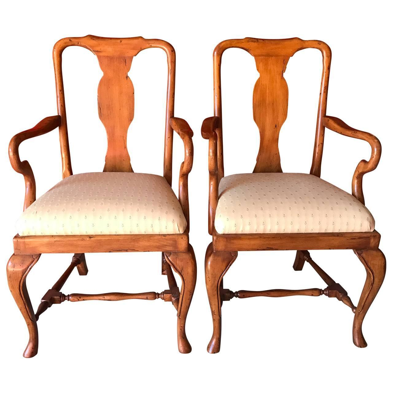 queen anne style chairs cushion rocking chair set of eight dining for sale at