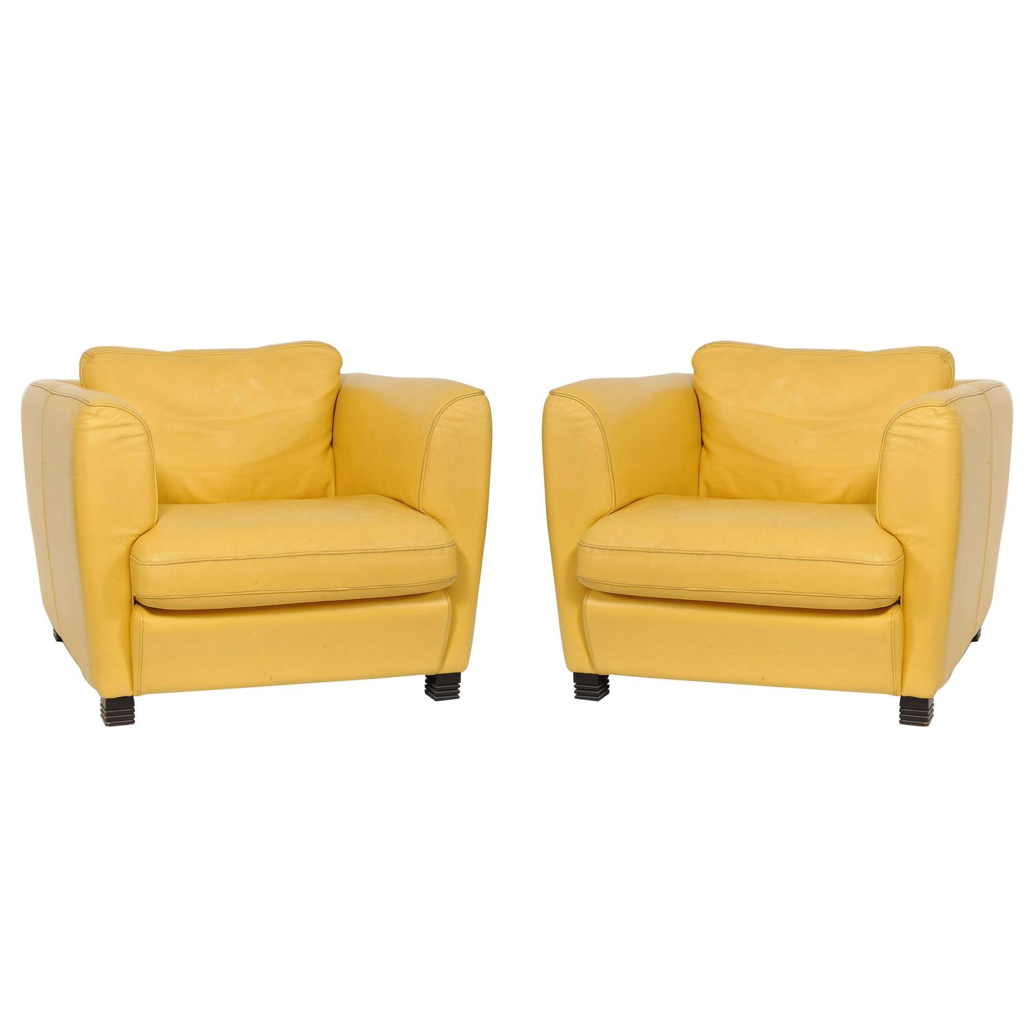 leather club chairs for sale best seat cushion office chair pair of french 1960s cream yellow