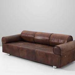 Buffalo Leather Chair Mid Century Office Marzio Cecchi Rare Brown Sofa For Sale At