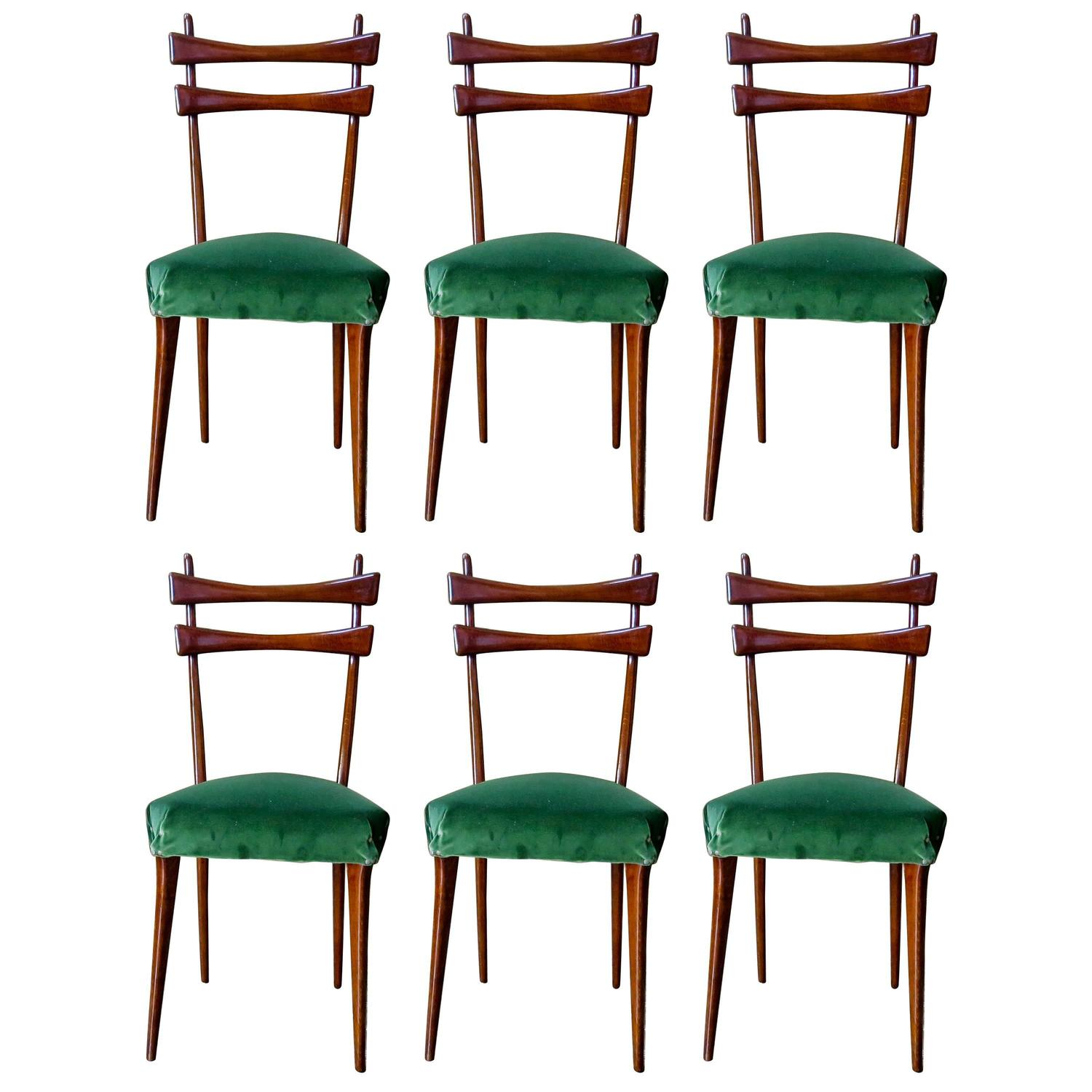 Italian Dining Chairs Mid Century Italian Dining Chairs Set Of Six In Velvet
